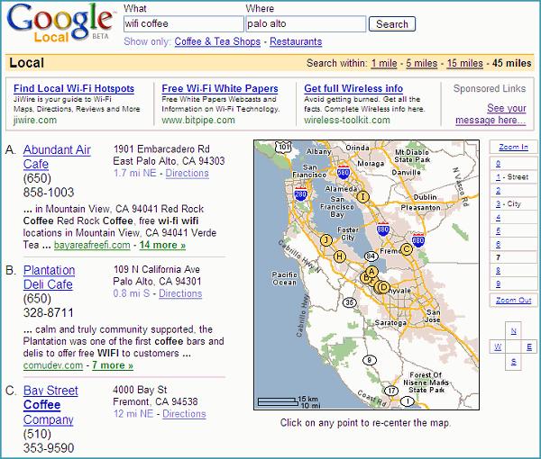 résultats de la recherche 'wifi coffee' sur Google Local