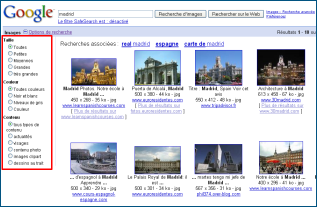 Google Images Search filtres