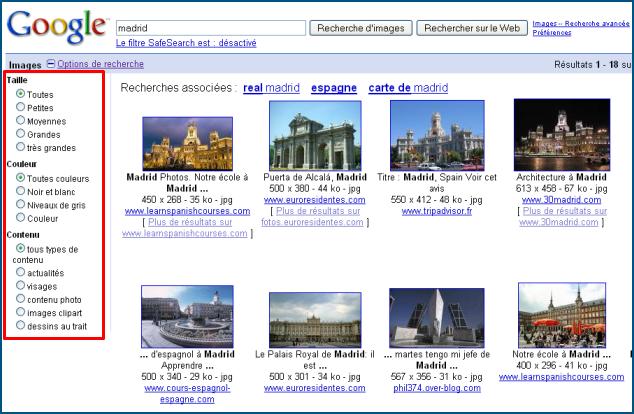Options de recherche de Google Images