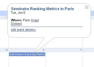 Séminaire Ranking Metrics dans Google Calendar