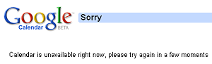 Google Calendar unavailable