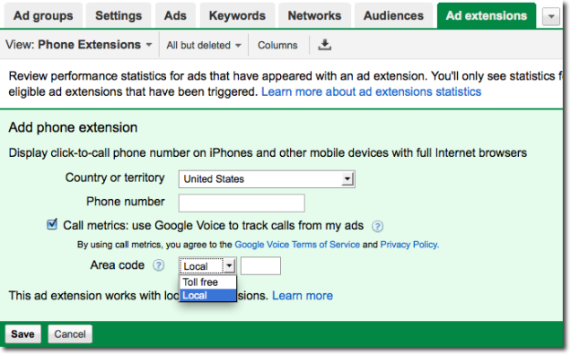 Google AdWords Call Metrics dans l'interface AdWords