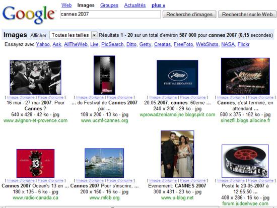 Recherche d'images sur Cannes 2007
