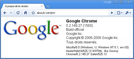 Easter Egg dans Google Chrome : about:version