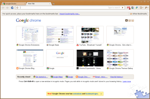 Interface de Google Chrome sous Linux