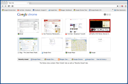 Interface de Google Chrome sous Mac