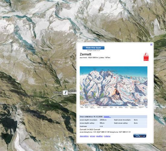 Enneigement dans les stations de ski des Alpes via Google Earth