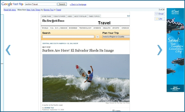 Article affiché en plein page dans Google Fast Flip