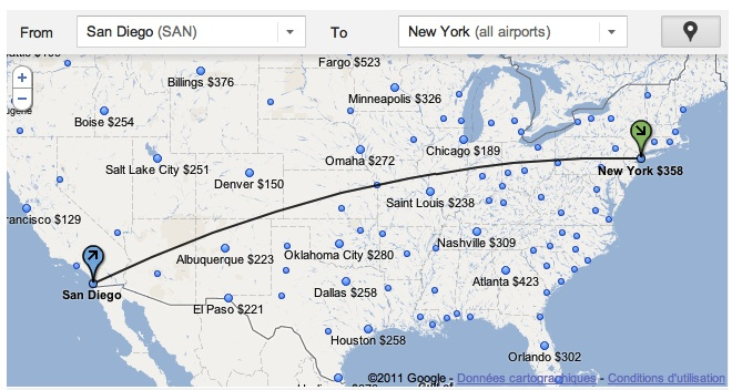 carte Google Flight Search