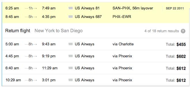 tableau liste vols retour dans Google Flight Search