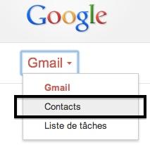 Menu d'accès aux contacts Gmail