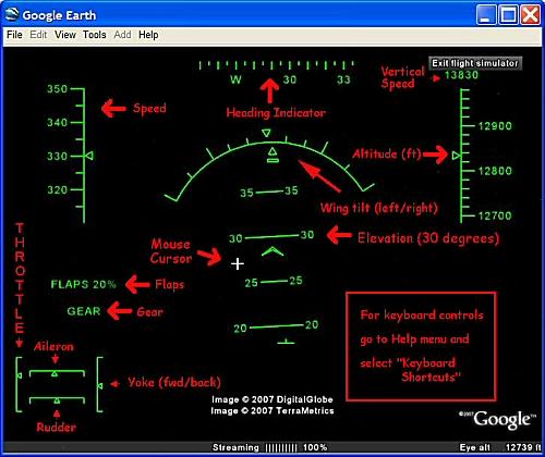 Aide aux commandes du simulateur de vol dans Google Earth