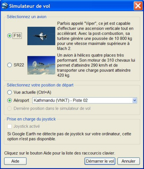 Options du simulateur de vol de Google Earth
