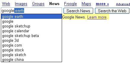Suggestions de requêtes dans Google News