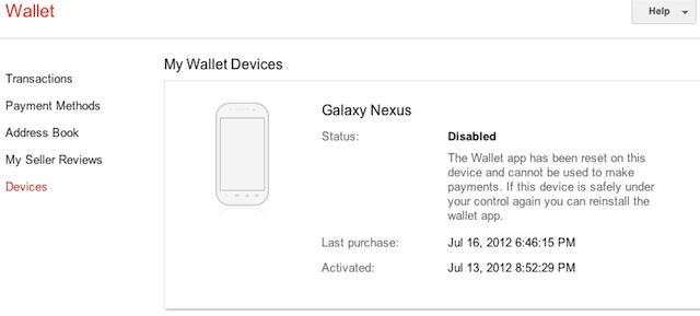 Google Wallet: controle du mobile à distance