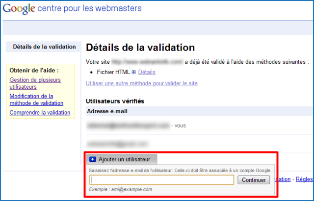 Ajouter un droit d'accès à un compte Google Webmasters Tools