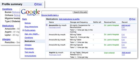 Historique dans Google Health