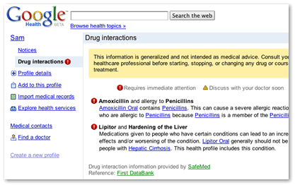 Interactions de médicaments dans Google Health
