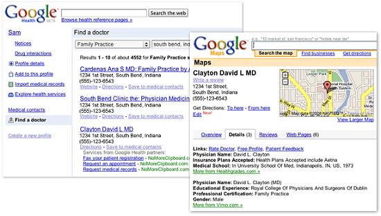 Chercher des médecins et des hôpitaux dans Google Health