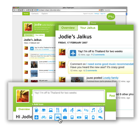 Interface de Jaiku
