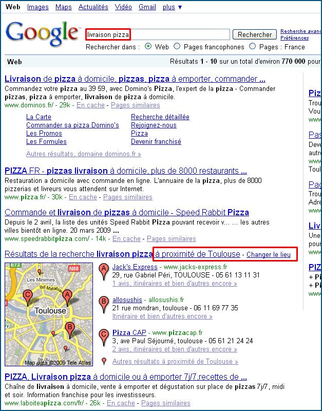 Carte dans les résultats Google