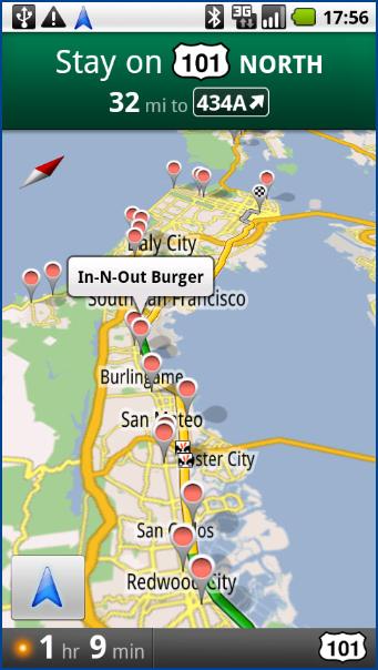 Google Maps Navigation: recherche de POI le long du parcours