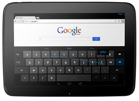 Le nouveau clavier virtuel sur Nexus 10