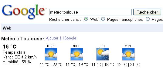 Exemple de OneBox: météo