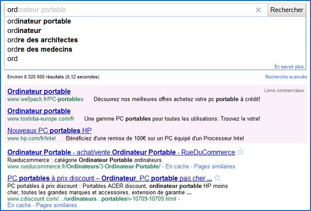 Recherche Instantanee Google