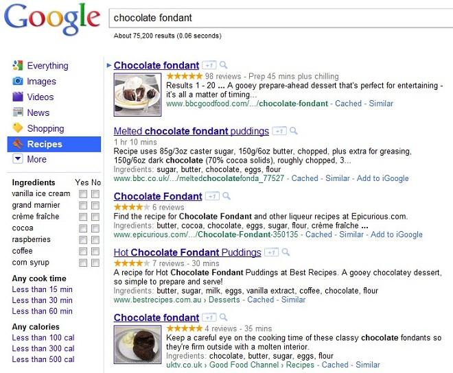 Recherche de recettes sur google.com