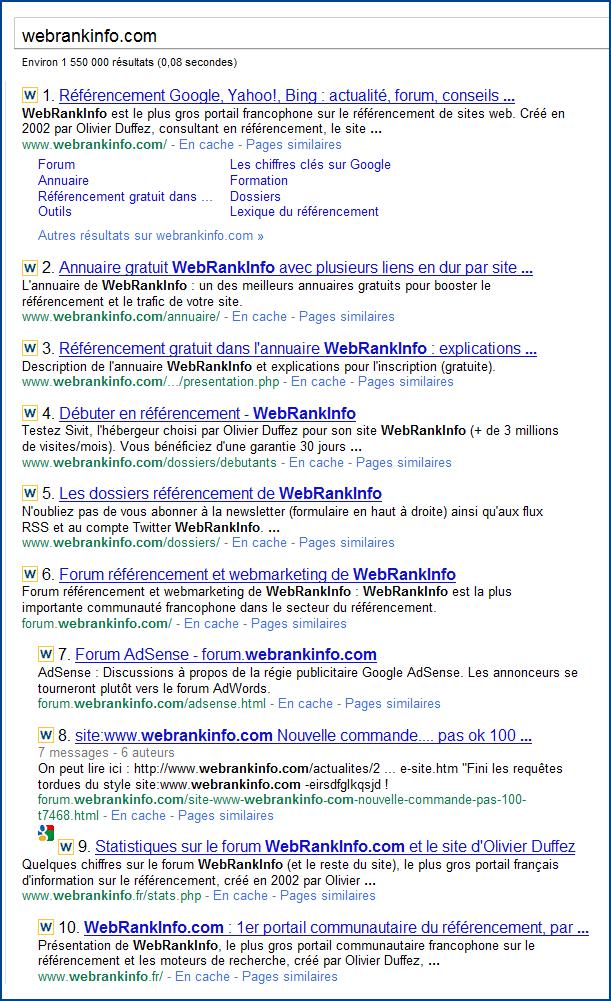 Exemple de page de SERPs Google avec plusieurs résultats issus des mêmes sous-domaines