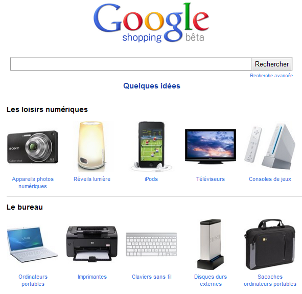 Homepage Google Shopping