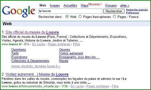 Exemple de SiteLinks Google pour le site du Louvre
