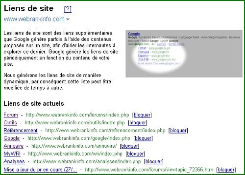 Interface de personnalisation des SiteLinks Google pour le site WebRankInfo