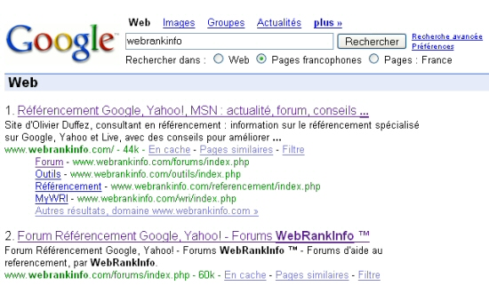 Exemple de SiteLinks sur Google