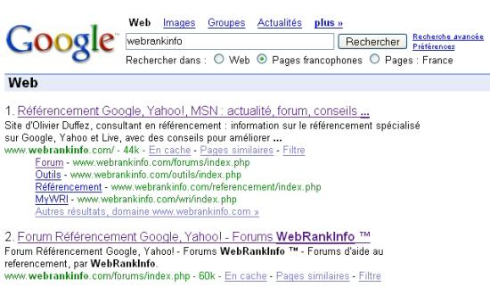 Exemple de SiteLinks sur Google