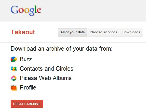 Configuration de Google Takeout