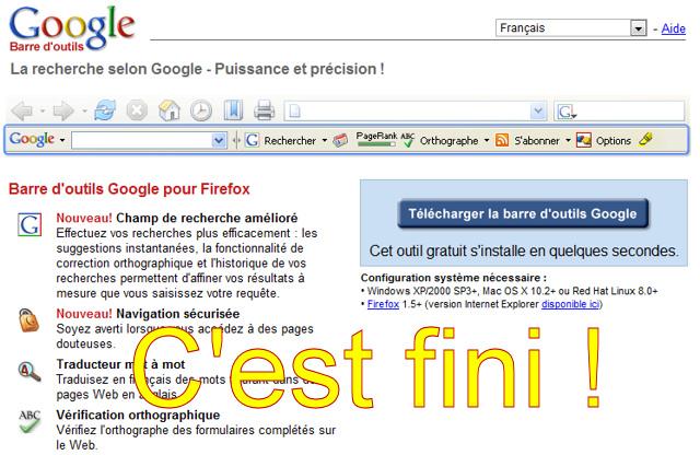 Google arrête de développer sa toolbar Firefox