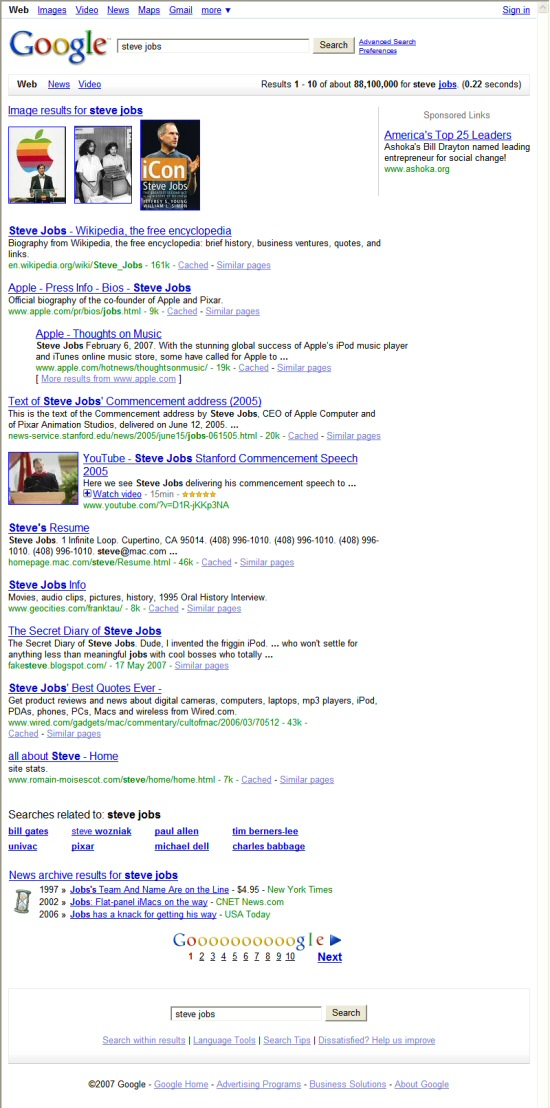 Nouvelle interface Google: Universal Search