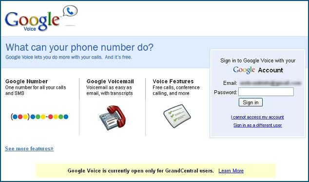 Interface de connexion GrandCentral / Google Voice
