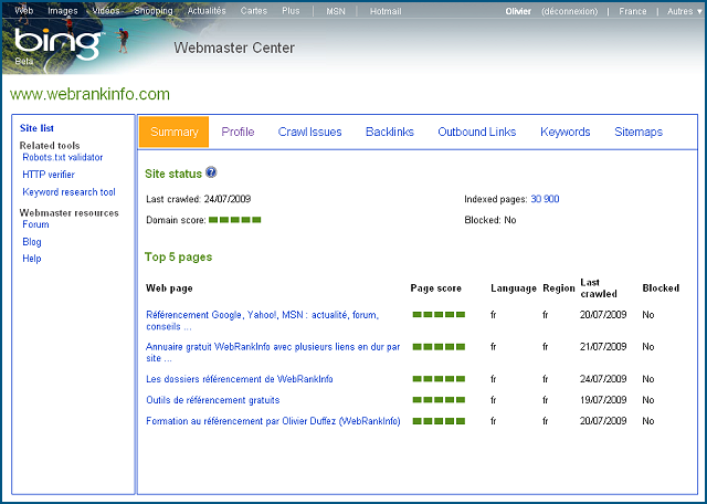 Interface de Bing Webmaster Center