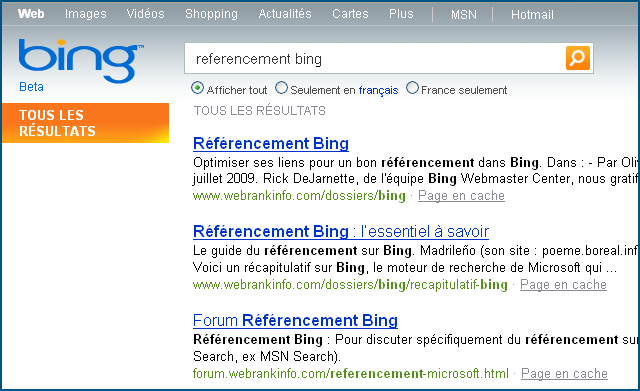 Referencement Bing