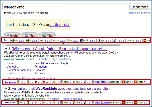 Affichage des informations SEOQuake dans Google