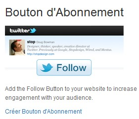 Bouton officiel abonnement Twitter