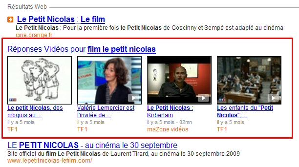 Recherche universelle sur orange.fr : les vidéos