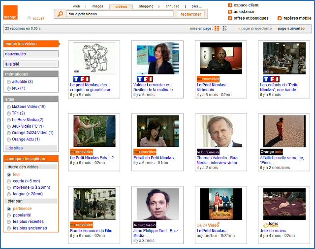 Recherche de vidéo, options avancées sur orange.fr