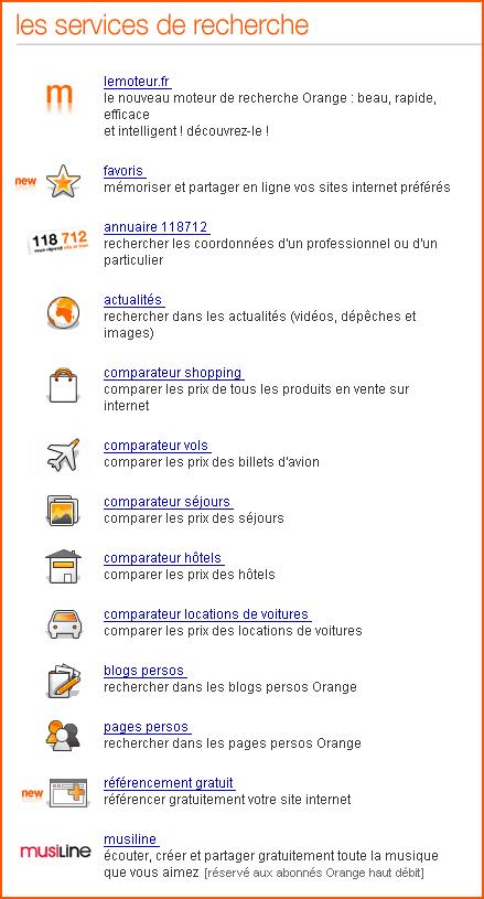 Les services de recherche d'information proposés par Orange