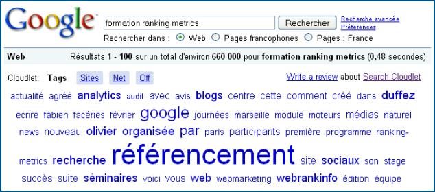 Search Cloudlet: recherche formation Ranking Metrics