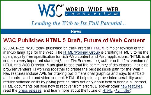 Sortie de HTML 5: le premier document encore au stade de brouillon