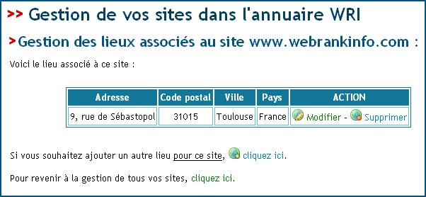 Liste des lieux associés au site
